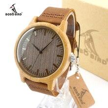 Reloj de Los Hombres de la Marca de Lujo de bambú BOBO PÁJARO Reloj Reloj Hombre relojes de Cuarzo Reloj de Cuero Ocasional hombre Del Relogio masculino