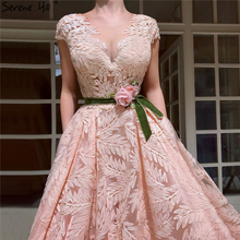 Peach V-Neck Lace Flower Evening Dresses 2019 Serene Hill