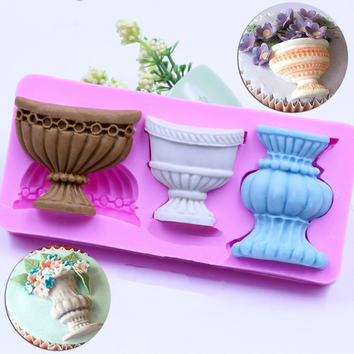 Fondant Silicone Mold Cake Decorating Tools Sculpture Pot Urn Chocolate Soap Mould Wilton