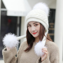 SUOGRY/Лидер продаж, лыжный бренд для девочек, большой меховой помпон, шарфик, вязаная зимняя шапка, Женская Шапка-бини, толстая шапка Skullies, женская шапка