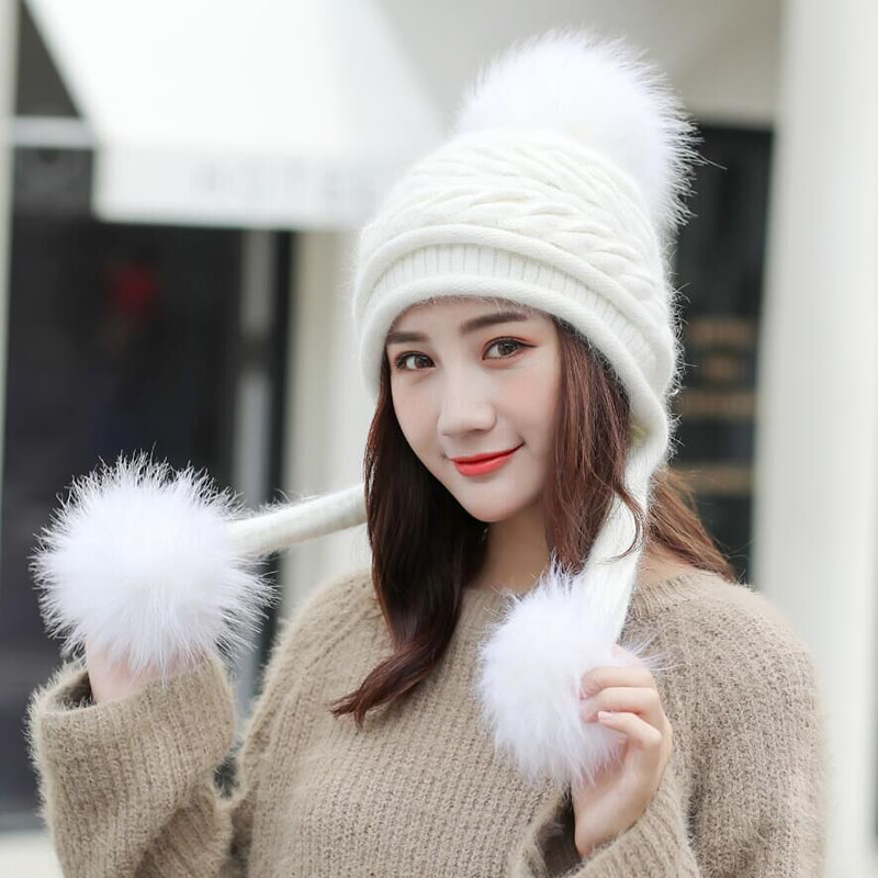 SUOGRY Hot Ski Girl Brand Big Fur Pom Poms Ball Scarf Knitted Winter Hat Women Beanie Hat Thick Skullies Female Cap