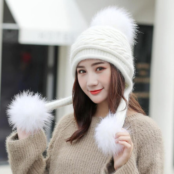 SUOGRY Hot Ski Girl Brand Big Fur Pom Poms Ball Scarf Knitted Winter Hat Women Beanie Hat Thick Skullies Female Cap double real raccoon fur hat pom poms winter hat women wool knit beanie bobble cap pompom beanies gorros thick female caps w1