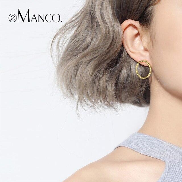 E-Manco Vòng Vòng Hoop Earrings 925 Sterling Silver Bạc Hợp Thời Trang Vòng Vòng Tròn Hình Học Đơn Giản Hoop Bông Tai Đồ Trang Sức Mỹ Cho phụ nữ