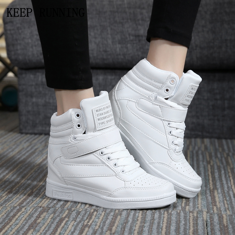 casual Shoes For Women Comfortable Hidden Wedge Heel Lace Up Walking Jogging Sneakers Spring Autumn Adults Boots