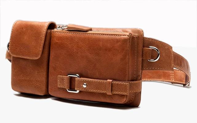 Fashion Genuine Leather Waist Bag For Men Pack Belt