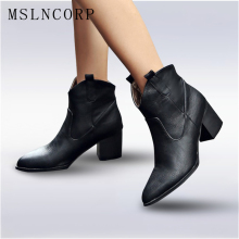 Plus Size 34-48 Soft Leather Women Ankle Boots Spring Autumn Thick High Heel Martin Boots Winter Snow Handmade Shoes Boot Black цены онлайн