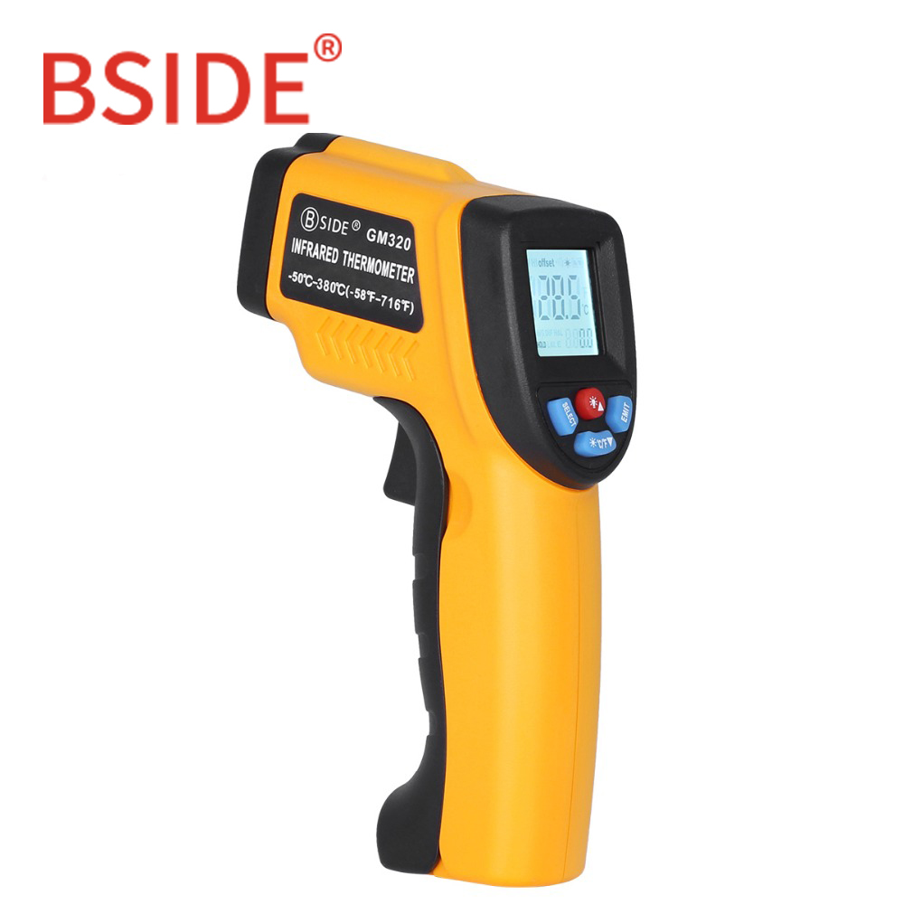 BSIDE GM320 Non-Contact Digital Laser Infrared Thermometer LCD Display C/F Selection IR Temperature Meter Tester with 4 Button