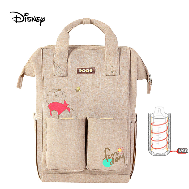 Disney Baby diaper bag Maternity Nappy usb Heater stroller bag baby care Mummy backpack Insulation bag