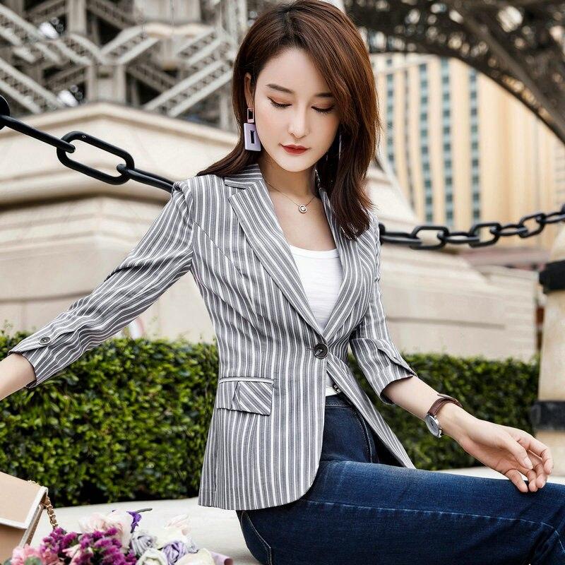 2019 Spring&Autumn Suit Blazer Women Formal stripe Jackets Work Office Lady half Sleeve Blazer Outerwear Plus Size S 4XL