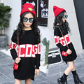2017 Spring Baby Girls Woolen Long Sweaters for Children Letter Print Outerwear Kids Sweater Dress FH245