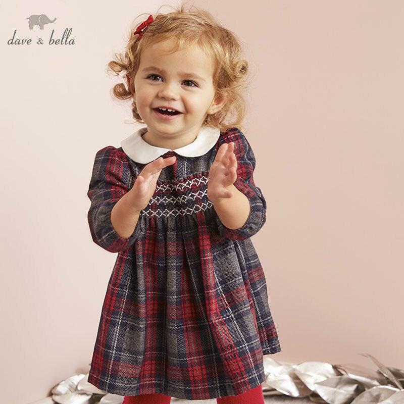 DB5565 dave bella infantile bébé fille robe de princesse mode robe à carreaux enfant en bas âge enfants lolita vêtements