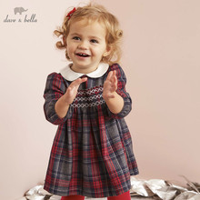 DB5565 dave bella niemowlę dziewczynka księżniczka sukienka moda sukienka w kratę maluch dzieci lolita ubrania