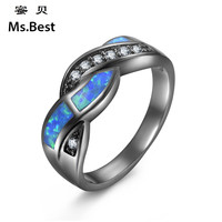 Titanium Women Blue Opal Black Ring Hip Hop Friendship Jewelry Gift Small Medium Big Size Optional