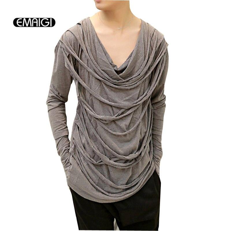 Men Long Sleeve Gloves T Shirt Male Shredded Tassel V Neck