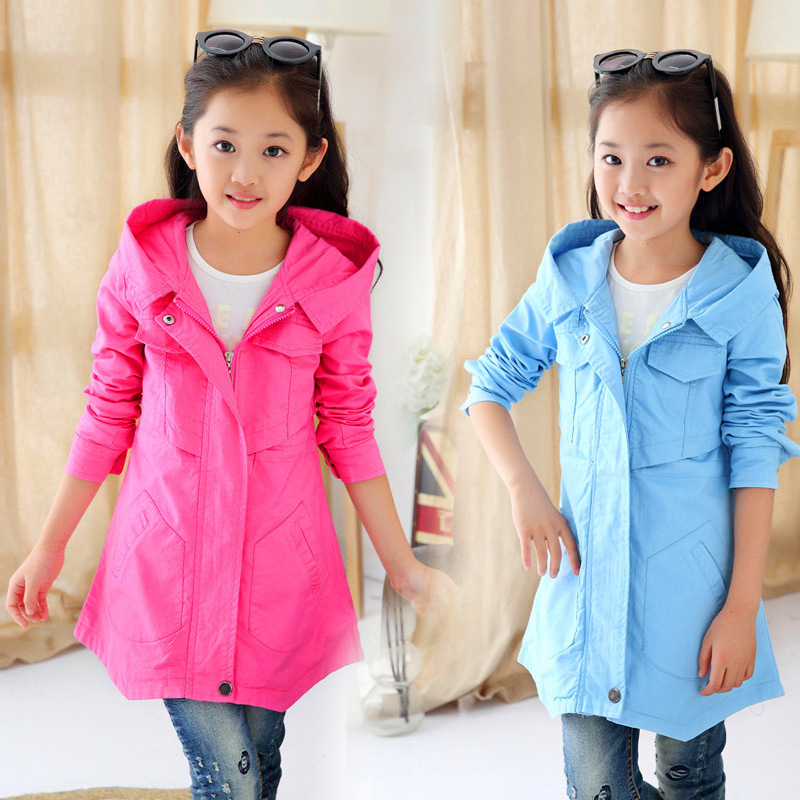 ФОТО Autumn 2016 Girls Trench Coat Girls Hooded Jacket Windbreaker Jackets Girl Winter Coat Kids Casacos Infantis Menina La Freds