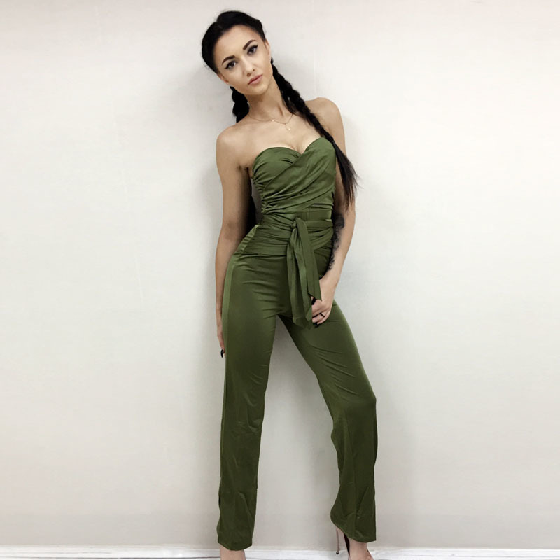 NATTEMAID Autumn rompers womens jumpsuit women Bandage strapless slash neck Bodycon overalls Solid club sexy Rompers for women 9