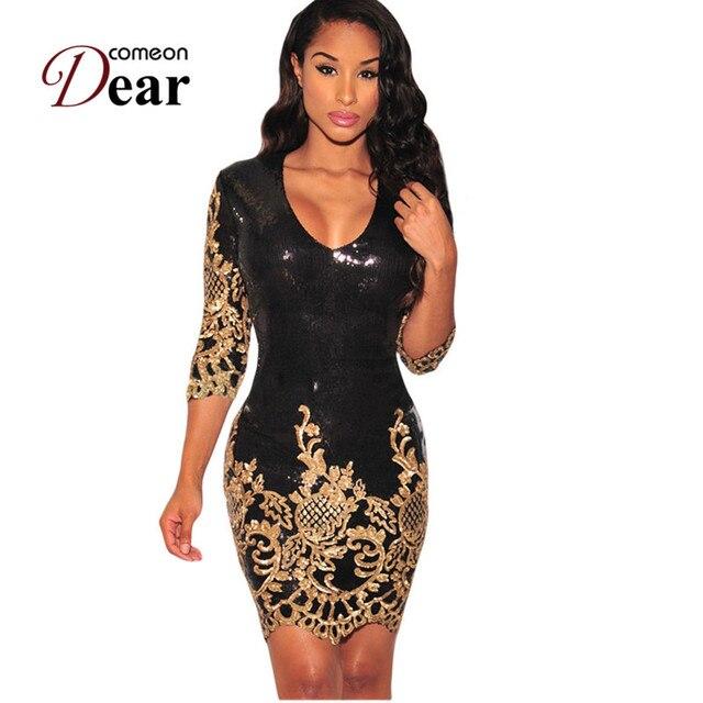 Kleid pailletten gold schwarz