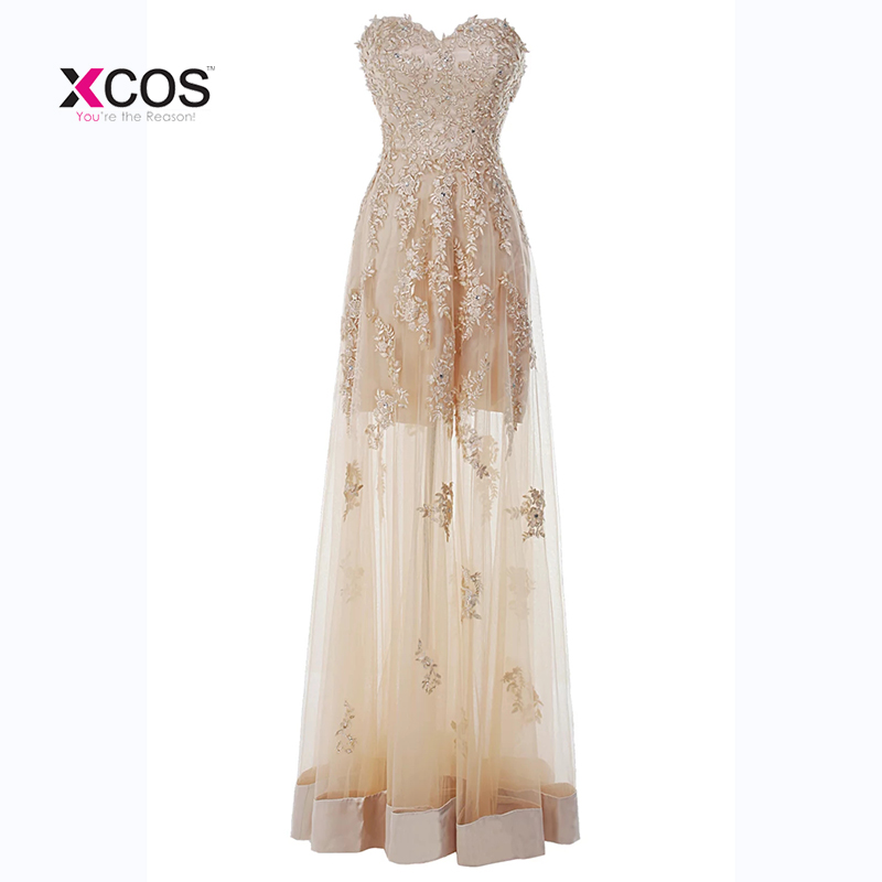 b08e0a453c025 See Through Tulle Sweetheart Prom Dresses Lace Appliques Beading Formal  Floor Length Prom Gowns Robe de. Loading zoom