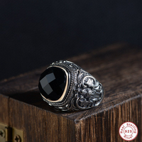 Charm 925 men ring Jewelry Black Ring Men's Light Genuine 925 Sterling Silver Men's Ring Natural Stone Retro Cool Fashion 2018