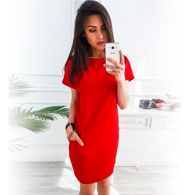 Women's Short Sleeve Solid Color Dress (3 Colors)