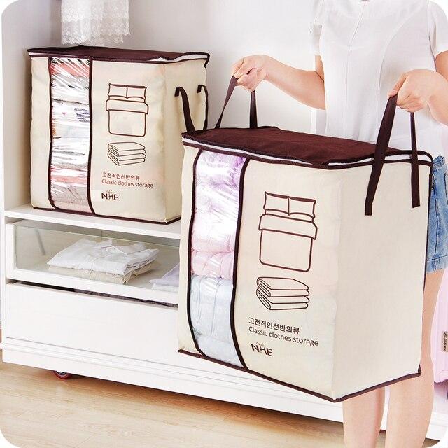 2018 new Non-woven Portable Clothes Storage Bag Organizer 45.5*51*29cm Folding Closet Organizer For Pillow Quilt Blanket Bedding 2