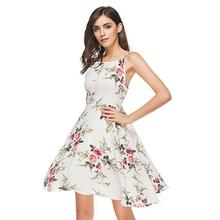 цена на 2019 New Yfashion Women Hollow-out Pleated Straps Printing Dress Top Selling