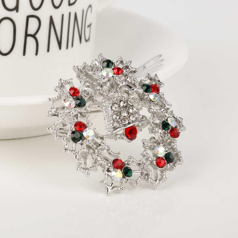 Dongsheng Crystal Berlian Imitasi Hati Bunga Bintang Dekorasi Natal Karangan Bunga Bros Pin Hadiah Natal Syal Gesper Pernikahan Gift-4