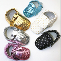 wholesale New gold silver soft sequin Leather Baby Moccasins shoes child freshly picked First Walkers fringe toddler girls shoes