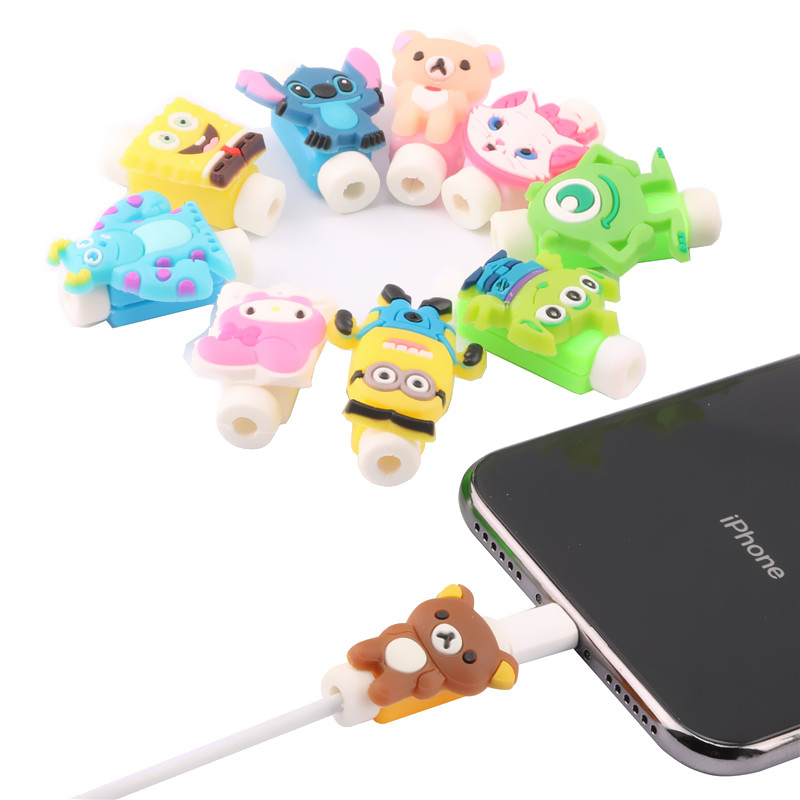 SIANCS Cartoon Cable Protector USB Charging Cable Bite Winder Cover Case For IPhone 9 6s 7 8 plus Cable Protect Animal Cute Gift fffas cartoon usb cable protector organizer pretty winder cover case shell for apple iphone 5 5s 6 6s 7 8 x plus cable protect