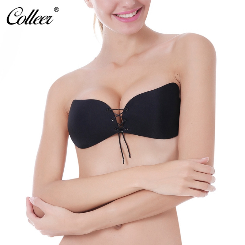 COLLEER Sexy Push Up Bra Silicone Lace Up Bralette Big Size BH soutien gorge Invisible Strapless Bras for Women soutien gorge 20