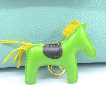 Horse Keychain Bag Charm Leather Women Car Key Chain Pendant Keyring Cover Holder Purse Handbag Charms Trinket Chaveiro Llaveros leather