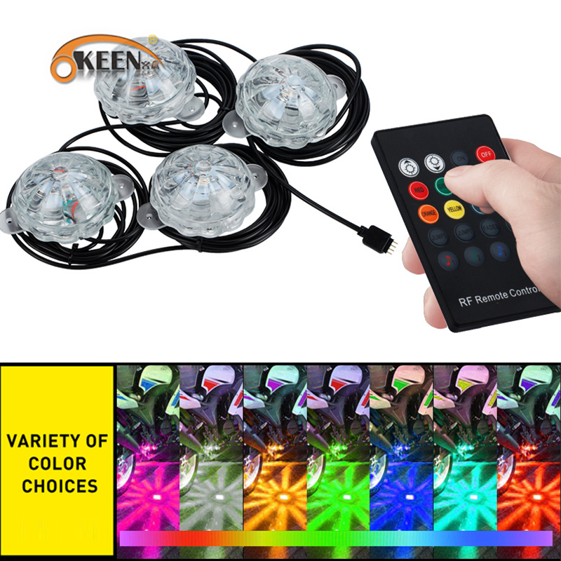 OKEEN 4*PCS Glow Kit LED Car RGB Light 12V Under car Underbody Decorative Lights With Wireless Remote Control For volkswagen/BMW