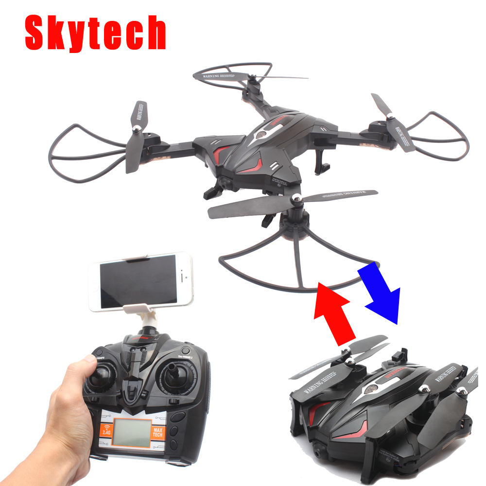 Skytech TK110HW Wifi FPV 720P HD Camera Foldable RC Quadcopter Drone w/ Flight Plan Route App Control & Altitude Hold Function jjrc h39wh h39 foldable rc quadcopter with 720p wifi hd camera altitude hold headless mode 3d flip app control rc drone