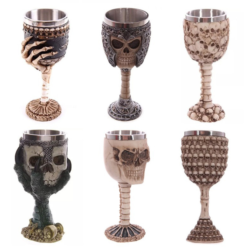 200ml Double Wall Resin Stainless Steel 3D Skull Drinking Mug Personalized Dragon Bone Skull Metal Wine