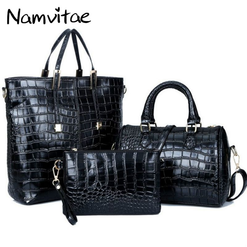 Namvitae Crocodile Pattern 3Bags font b Set b font Women font b Handbags b font High