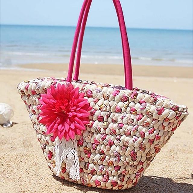 Handmade Flower Straw Bag Woven Tassel Top Handle Women Totes Casual Women Shoulder Bag Bohemian Beach HandBag Bolso femenino