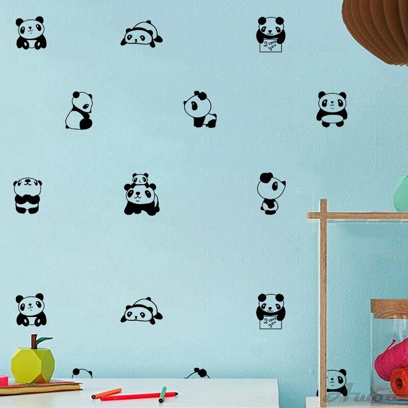 Leuke Kleine Panda Thuis Muurtattoo Sticker, Nordic Stijl Leuke Vinyl Muurstickers Voor Kinderkamer Babykamer Nursery Behang