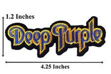 Lower price embroidered name patches cheap Deep Purple Name Badge Embroidered Punk Patches Rock Music Band Iron On Jacket