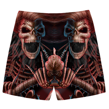 KYKU Brand Skull Shorts Men Red Casual Shorts Beach King Gothic 3d Print Shorts Cargo Hip Hop Mens Short Pants 2018 Male Summer 1