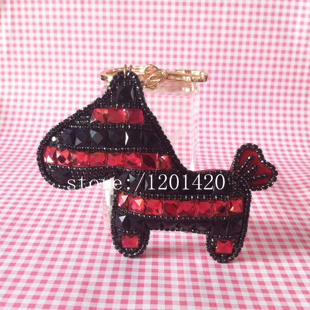 Horse key chain   Cute Crystal  horse   Leather tossel car key ring Creative Women handbag charm  bag bug pendant