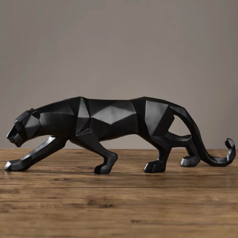 3colors 48 10 5 15cm Modern abstract sculpture statue panther wild animal leopard s geometry decorations