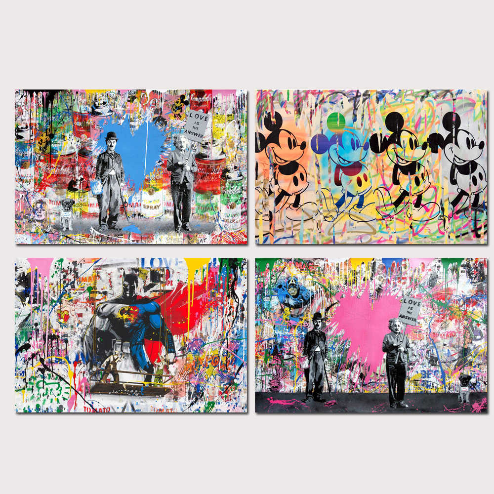 Mr Brainwash Banksy Graffiti Wall Art Oil Painting Poster Canvas Painting Print Pictures for Living Room Home Decor 46