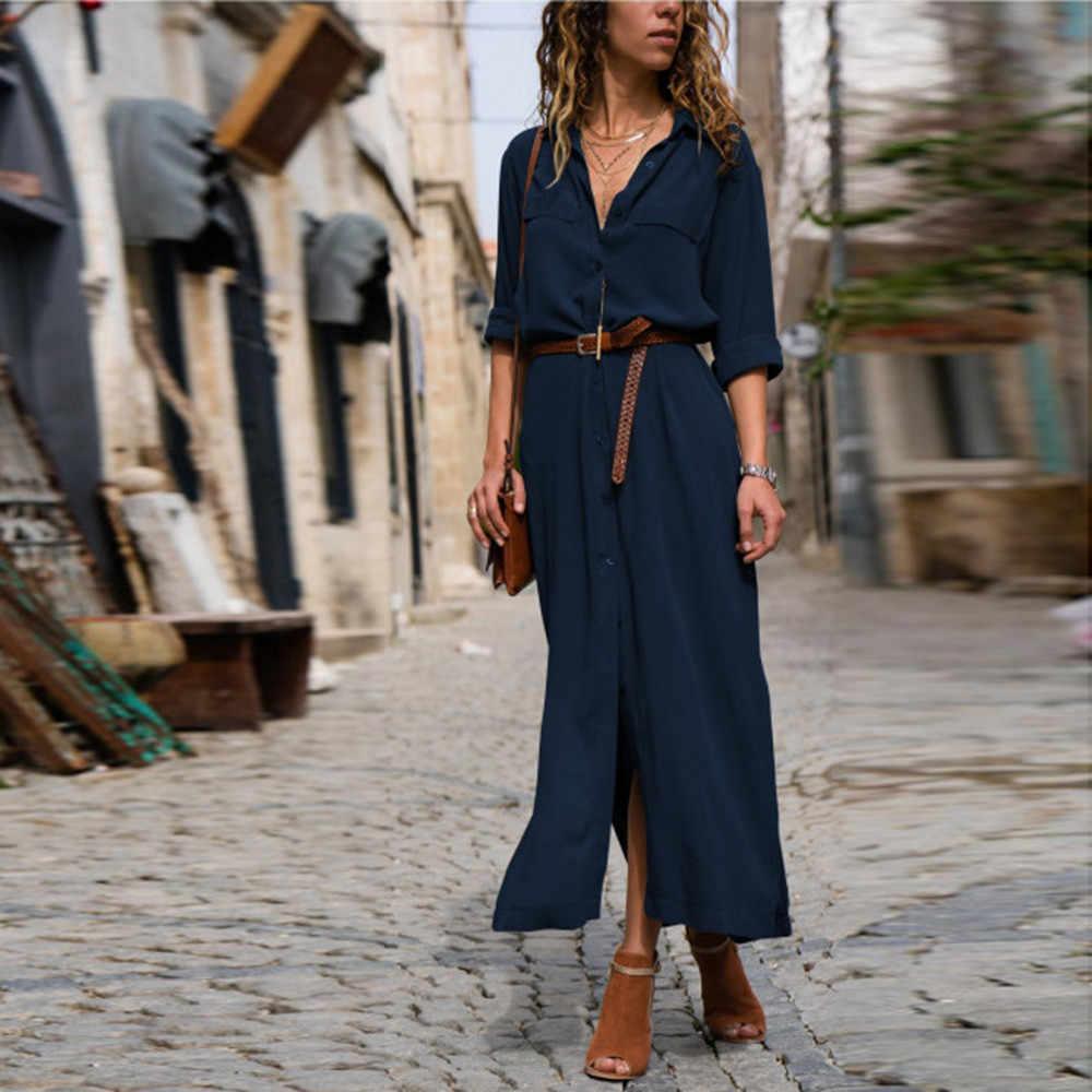 28e312c830 ... Women's Solid Long Sleeve Casual Loose V-Neck Button Split Hem Long  Dress Autumn Women ...