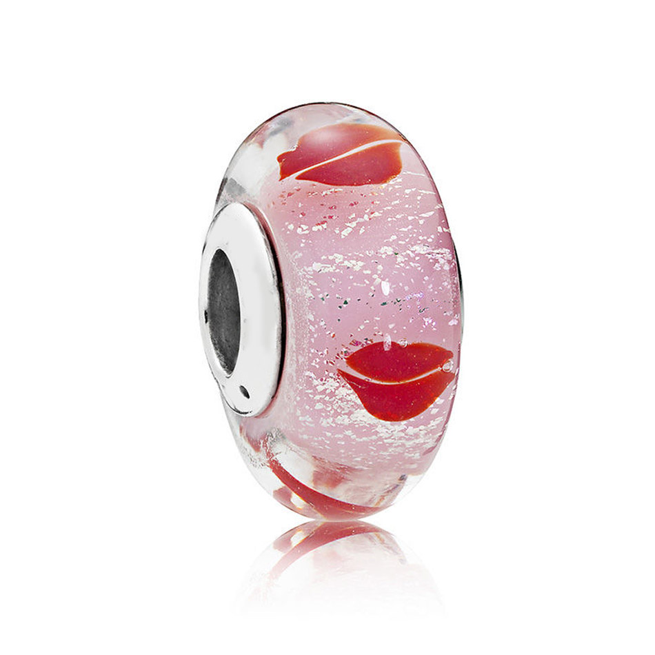 Authentic S925 Sterling Silver DIY Jewelry  Murano Glass Beads fit Pandora Bracelet Bangle Kisses All Around Charm Lady Gift