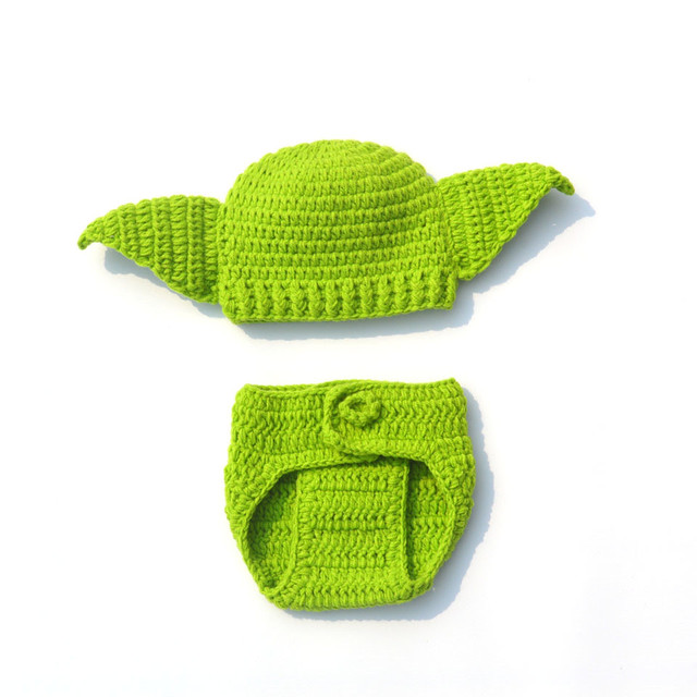 Knitted Hat Star Wars Yoda Outfits Halloween Newborn Baby