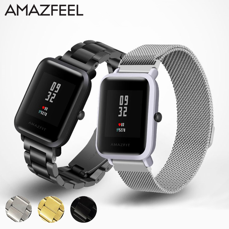 Wristband for Amazfit Strap Metal Stainless Steel for Xiaomi Huami Amazfit Bip BIT Youth Smart Watch Replace Bracelet 20mm Belt