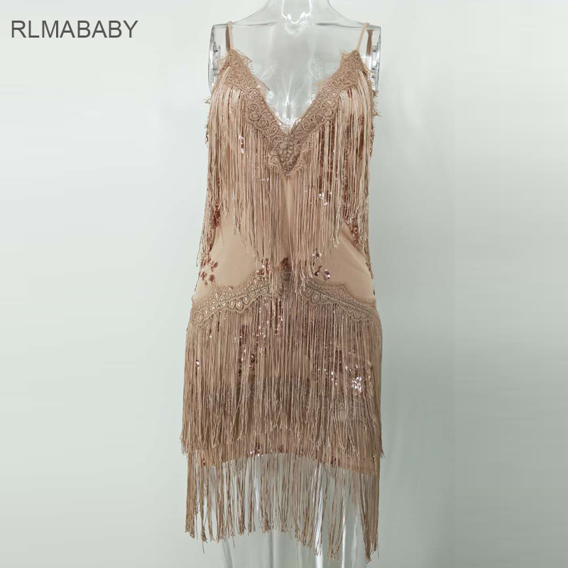 75f9d07d5b46 RLMABABY Sexy Embroidery Sequined Tassel Mini Dress New Deep V Neck  Sleeveless Backless Bodycon Women Vestidos Club Party Dress-in Dresses from  Women's ...