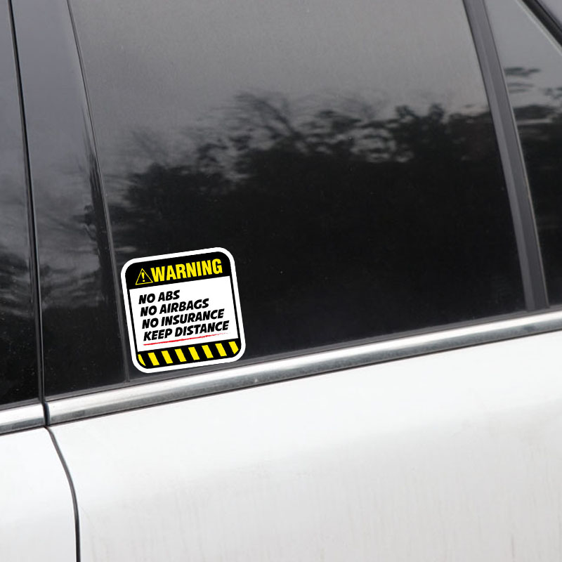Image 3 - YJZT 2X 8.5CM*8.5CM Danger Car Sticker Warning NO ABS  AIRBAGS  INSURANCE KEEP DISTANCE Decal 12 1037-in Car Stickers from Automobiles & Motorcycles