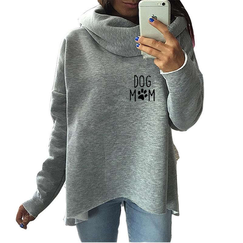 2018 New Fashion DOG MOM Print Sweatshirt Femmes Hoodies Tops Cotton Loog Sleeve Youth Printing Sweatshirts for Women Autumn sweatshirt