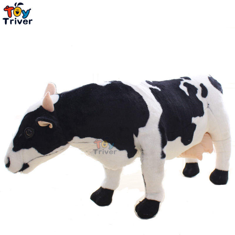 Creative Simulation Plush Dairy Milk Cow Cattle Toy Stuffed Aniaml Toys Doll Baby Kids Birthday Gift Home Shop Decoration Triver huge creative simulation cow toy polyethylene
